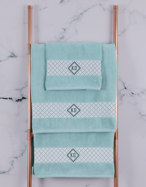 year-end: Personalised Crest Duck Egg Towel Set!