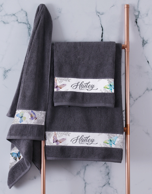 christmas: Personalised Charcoal Butterfly Towel Set!