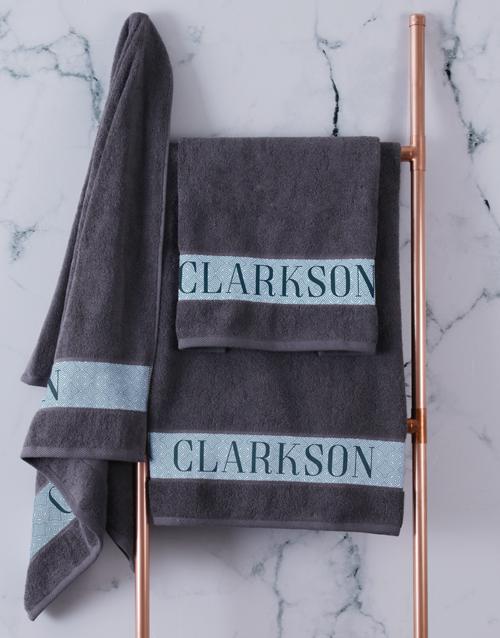 christmas: Personalised Surname Charcoal Towel Set!