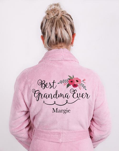 mothers-day: Personalised Best Grandma Vintage Pink Fleece Gown!