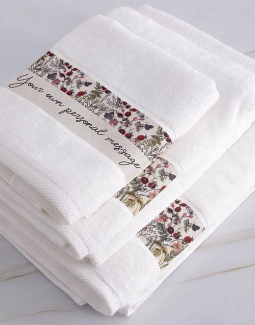 christmas: Personalised Botanic White Towel Set!