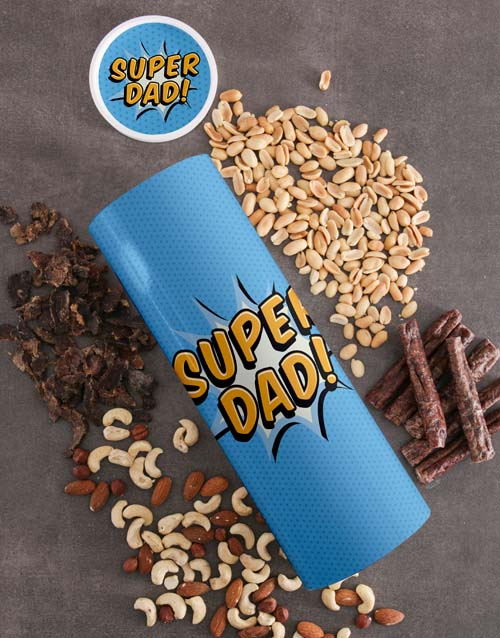 fathers-day: Personalised Super Dad Biltong And Nuts Tube!