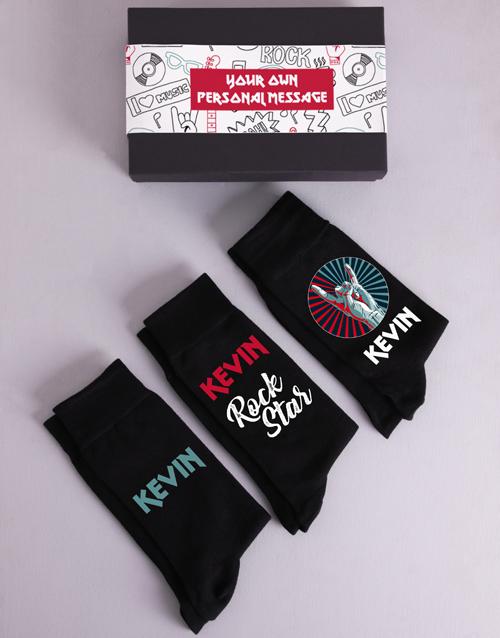 apparel: Personalised Three Pair Rock Star Socks Box!