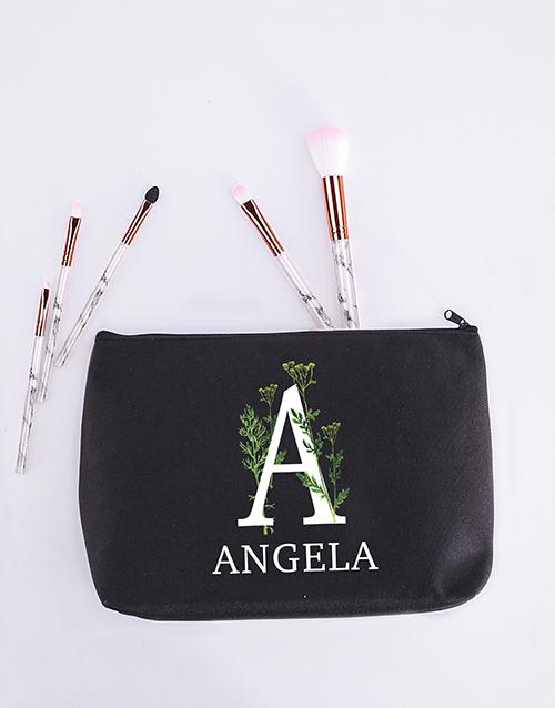 christmas: Personalised Floral Initial Cosmetic Bag!