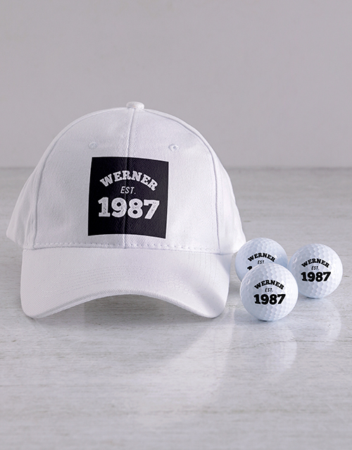 grandparents-day: Personalised Established Golf Balls and Cap!