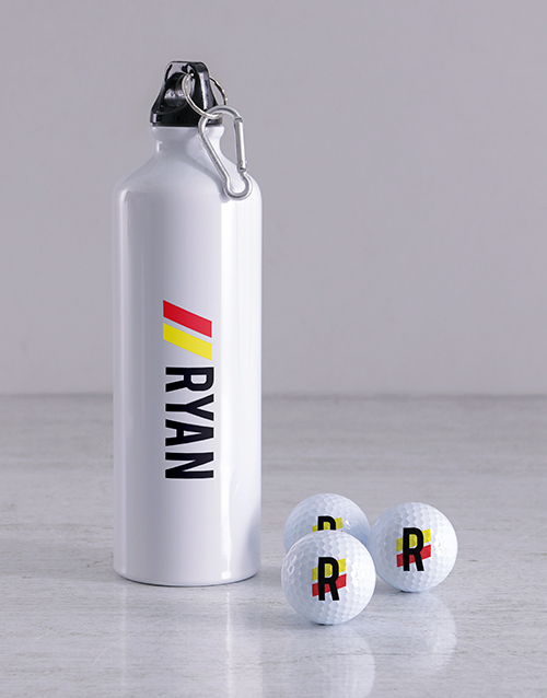 grandparents-day: Personalised Stripe Golf Balls and Waterbottle!