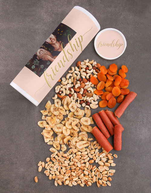 gourmet: Personalised Friendship Fruit And Nuts Tube!