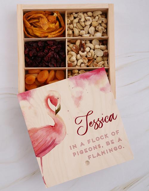gourmet: Personalised Flamingo Snack Crate!