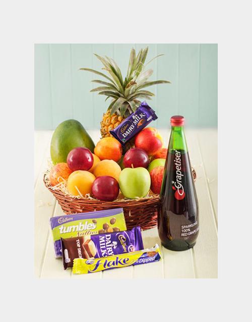 flowers: Fruit with Cadbury and Sparkling Juice Treat!