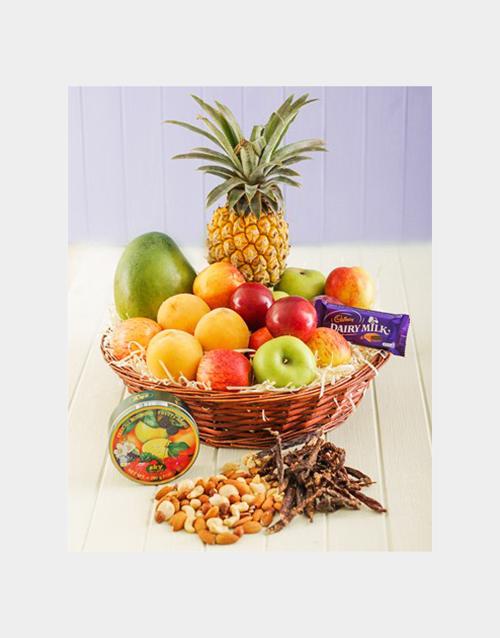 flowers: Seasonal Fruit and Treats Basket Gift!