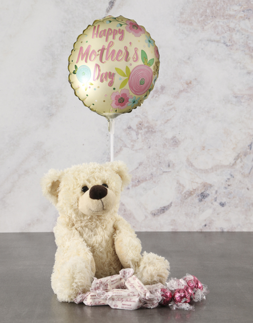 mothers-day: Mothers Day Cream Teddy And Balloon Hamper!