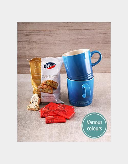 christmas: Set of Le Creuset Mugs With Cote D Or Chocs!