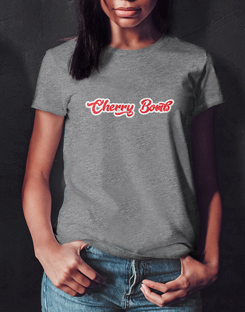 valentines-day: Cherry Bomb Ladies Grey Tshirt!