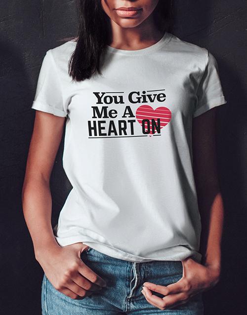 clothing: Heart On Ladies White Tshirt!