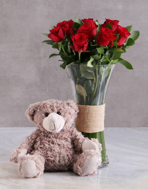 vase: Red Roses With Brown Teddy Bear!