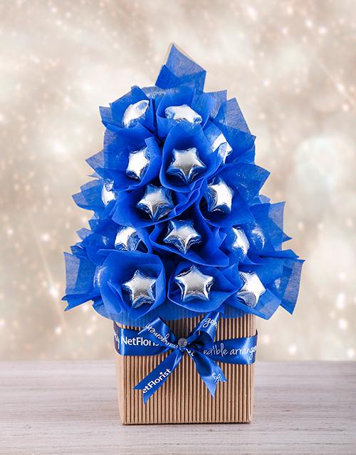 edible-arrangments: Blue and Silver Edible Tree!