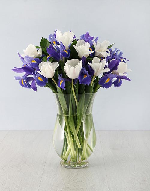 colour: Irises & Tulips in Hurricane Vase!