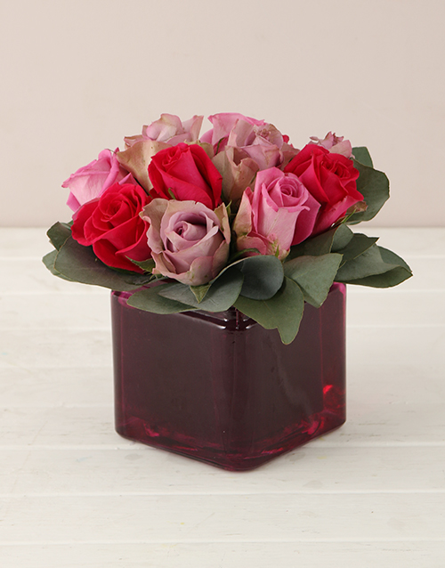 coloured-vases: Lilac and Pink Roses in Square Vase!