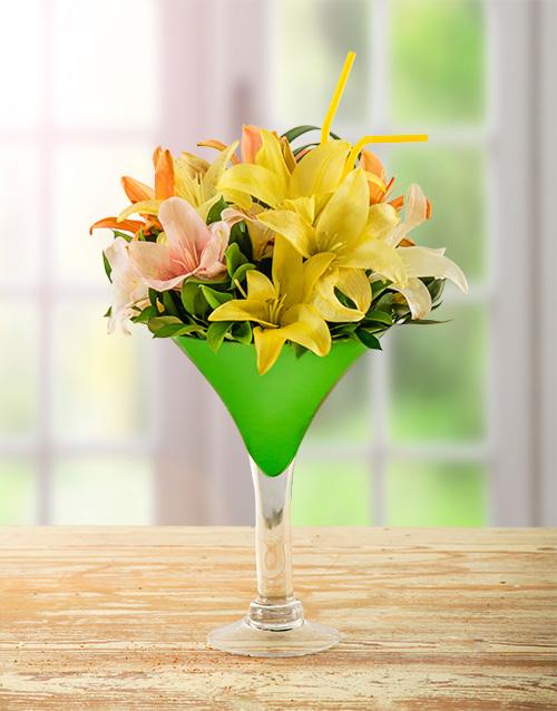 cocktail-range: Lily Arrangement in Cocktail Vase!