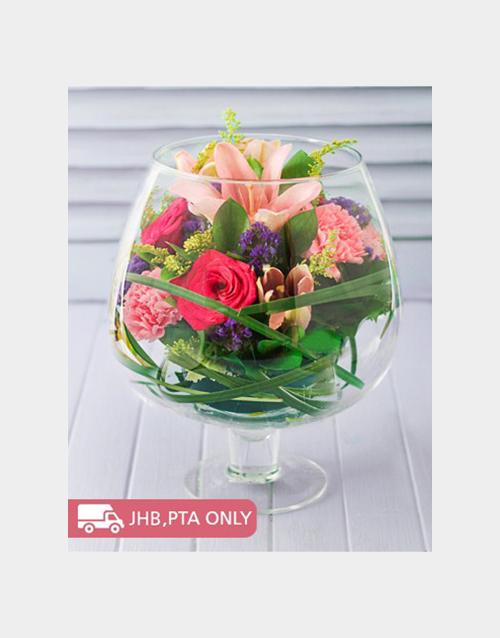 cocktail-range: Floral Mixture in a Brandy Vase!