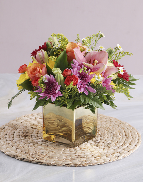 coloured-vases: Mixed Flowers in a Gold Vase!